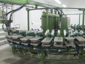Máy làm giày an toàn PU Dây chuyền sản xuất chuối loại chuối